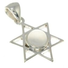 Small Star of David Silver Pendant, w Moon Stone, 925 Solid Sterling Silver,