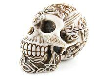 Resin Human Skull Figurine Celtic Knotwork Skeleton Statue Trinket Box with Lid