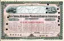 1880 New York Ontario & Western RW Stock Certificate