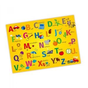 Kinder Lernposter ABC DIN A1/ A2/ A3 Alphabet Kinderzimmer Wanddeko Wandbild