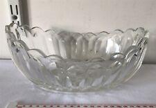 Vintage Large Art Deco Clear Glass Bowl - Oval Shape