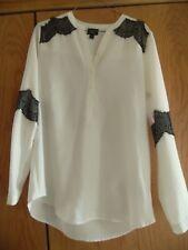 Mossimo Ivory Black High Low  Boho  Peasant Top Shirt Tunic Womens Sz M