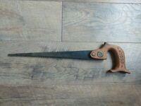"""Antique Vintage Phenix Hand Saw 12"""" Blade Carved Wood Handle Eagle Emblem"""