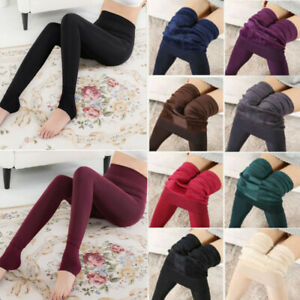 Ladies New Winter Thick Fleece Lined Stretchy Thermal Leggings Jeggings Pants ~