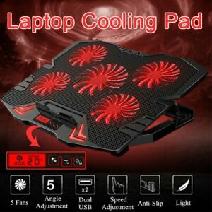 14''-16' Notebook Cooler Pad 5 LED Fans Touch Cooling Stand For Gaming Laptop