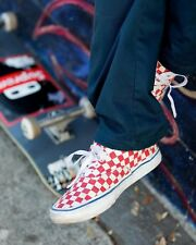 VANS ERA PRO CHECKERBOARD SKATE SHOES MEN'S size 9.5 Rococo Red & Off-White