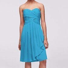 David Bridal Bridesmaid Style F14847 Malibu Blue strapless dress Sz 4
