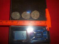 Ancient Roman AE Coins Follis 1/2 inch, 5+grams - Lot of 3x Ancient Rare coins