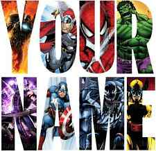 MARVEL AVENGERS LETTER NAME STICKERS WALL DECO DECAL 4 SIZES PERSONALISED lot FC