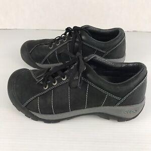 KEEN Womens Presidio Size US 7 Black Leather Walking Shoes 1004758