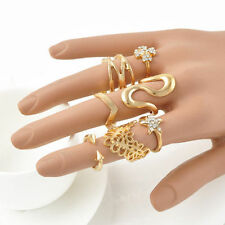 7Pcs Womens Band Midi Rings Set Gift Fashion Punk Gold Stack Above Knuckle Ring