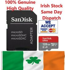 100% SanDisk 128Gb Micro SD SDHC memory card class10  Adapter Included 100 Mb/s