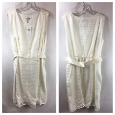 BCBG MAX AND CLEO Women's Striped Overlay Sheath Dress Eggshell Sz 14 $138 NWT
