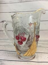 Gorgeous EAPG Northwood Large Tea Pitcher / Cherries And Gable Mosser Gilt