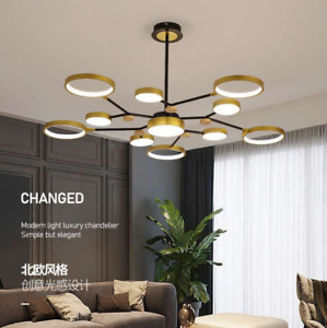 Modern Branch Chandelier Gold Black Ceiling Fixtures Living Room Pendant Lamp