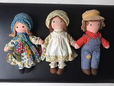 "Holly Hobbie, Robby Hobbie, and Heather 9"" rag dolls from Knickerbocker"