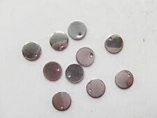 10pz charms ciondoli piastrina tonda in acciaio inox 10mm colore argento scuro