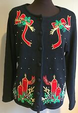 VICTORIA JONES Small S Women Ugly Christmas Sweater Button Up Long Sleeve