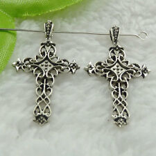 Free Ship 200 pcs tibet silver cross charms pendant 38x21mm #951