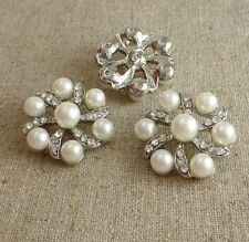 2 pcs Rhinestone faux pearl shank button wedding button