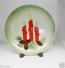 """Christmas Candle Plate Ceramic Decoration Vintage mid century 9.25"""" lite green"""