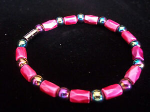 7 1/2 Inch Pink MAGNETIC Bead & RAINBOW Bead Bracelet by Quality Jewelry A-05