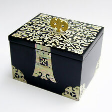 Mother of Pearl Lacquer Wooden Golden Bat Black Jewelry Gift Keepsake Chest Box