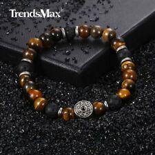 9mm Mens Tiger Eye Stone Black Lava Bead Bracelet Stainless Steel Elastic Chain
