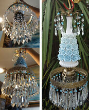 Porcelain blue barbola cabbage Rose Brass chandelier Swag vintage lamp crystal
