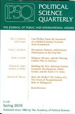 2010 Political Science Quarterly Magazine: Can Welfare States be Sustained/Iraq