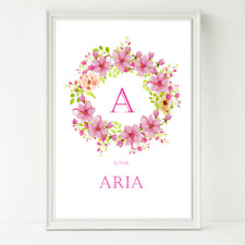 Personalised Nursery Name Print - Baby, Toddler, Birthday, Girl, Christening