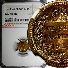 GREAT BRITAIN George V Bronze 1913 1/3 Farthing NGC MS64 RB 1 YEAR TYPE KM# 823