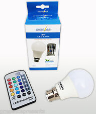 POWERSAVE BAYONET CAP COLORED LED RGB REMOTE CONTROL COLOUR CHANGING LIGHT BULB