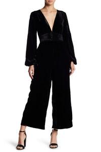 Free People Womens True Lovin Velvet OB735692 Jumpsuit Relaxed Black Size XS