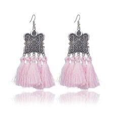 Silver Square Flower Tribal Gypsy Tassel Boho Bohemian Chandelier Earrings Pink