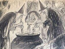 ENRIGHT Original Vintage Signed Comic Cartoon Illustration Old World Politics
