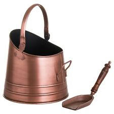 Metal COAL BUCKET with shovel fireside hearth display holder aged copper colour