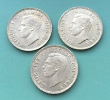 More details for george vi half crowns x 3. 1941, 1942, 1943. pre 1947 0.500 silver coins.