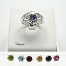 7.04CTW Interchangeable Multi 6mm RD Gemstone - 7 changeable Gemstones - sz 10