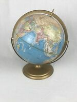 Vintage George F. Cram Company Rotating World Globe metal stand 12""