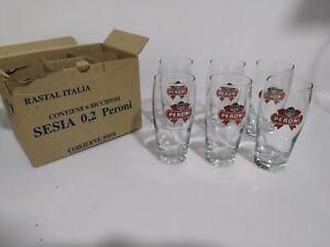 6 bicchieri peroni vintage in vetro da 0,2
