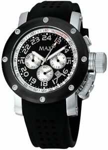 Max XL Men's Quartz Watch with Black Dial Analogue Display and Black Rubber Stra