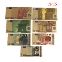7 Pcs Euro Billete Hoja de oro Papel moneda Manualidades Colección Nota Moneda