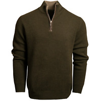 Misty Cashmere Zip Neck Chunky Knit Jumper Sweater in cashmere and merino