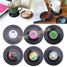 6PCS rotonda Vinyl Record Coaster Coppa bevande Holder Mat da tavola Placemat