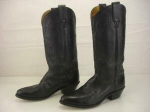 Women's 7.5 M Dan Post Maria Black Leather Cowboy Boots Western Cowgirl Riding