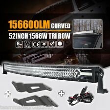 Tri Row 52inch 1566W LED Curved Light Bar+ Mount Brackets Fit For GMC 1500 Chevy