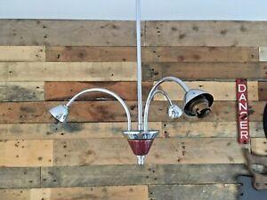 MID CENTURY MODERN 60'S CHROME 3 ARM CEILING LIGHT LAMP 70S RETRO ITALIAN DANISH