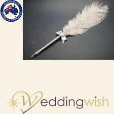 Wedding Ostrich Feather Pen White With Diamanté Heart Guest Book Signing