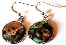 EARRINGS Natural Teal Green Abalone Iridescent Paua Shell Round 925 Silver Hooks